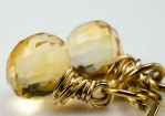 Citrine Drop Gold Earrings