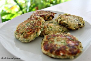 zucchini, feta and mint fritters