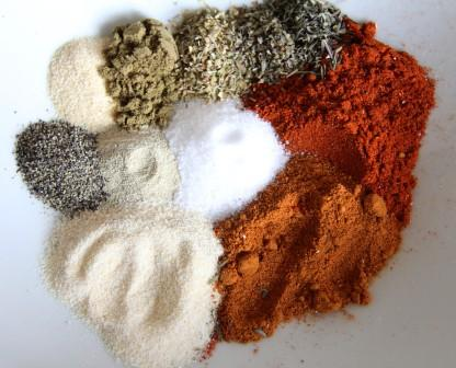 All the spices before mixing