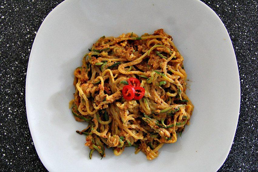 sauce on noodles