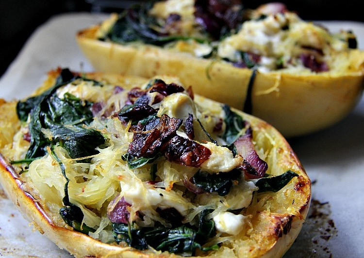 Spinach & Goat Cheese Stuffed Spaghetti Squash - Divalicious Recipes