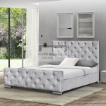 Marino Luxury Grey Plush Velvet Bed Frame Guaranteed Cheapest Free Fast Delivery