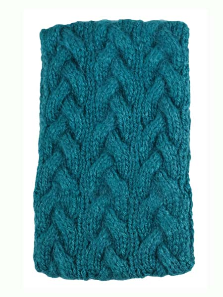 Cable Ear Warmer, Teal, Alpaca Blend, winter Headbands for the whole family