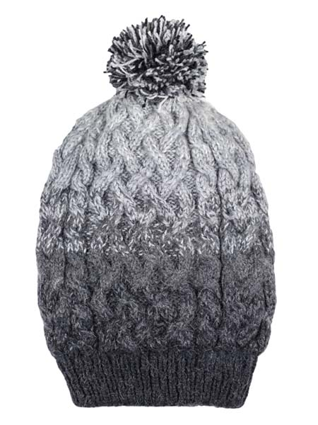 PomPom Hat, Grey, Alpaca Blend, winter Hats for the whole family