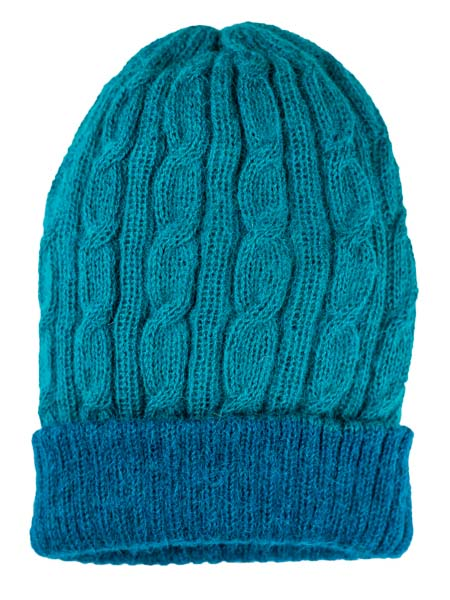 Cable Hat 100% Alpaca, Reversible Navy, winter Hats for the whole family