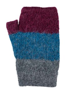 Multithree Arm Warmer, Blue, 100% Alpaca, winter wrist warmers for the whole family