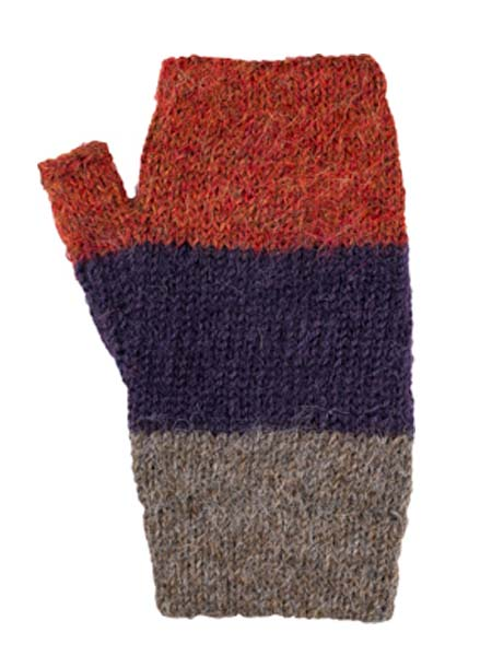 Multithree Arm Warmer, Grape, 100% Alpaca, winter wrist warmers for the whole family