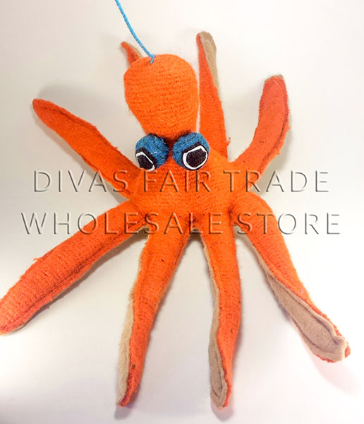 Octopus 100% Natural Wool Stuffed Toys Woolly Amigos