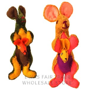 Kangaroo 100% Natural Wool Stuffed Toys Woolly Amigos