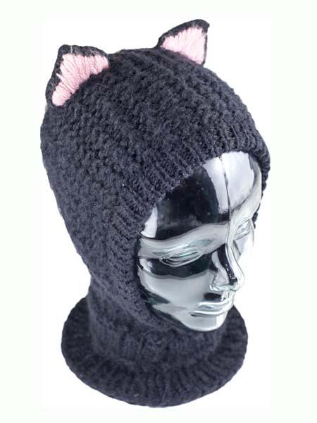 Animal Hood Black Cat Balaclava, Open face, Alpaca Blend winter Balaclava for the whole family