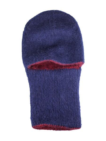 Arctic Hood Reversible, Navy/Burgundy, Alpaca Blend winter Balaclava for the whole family