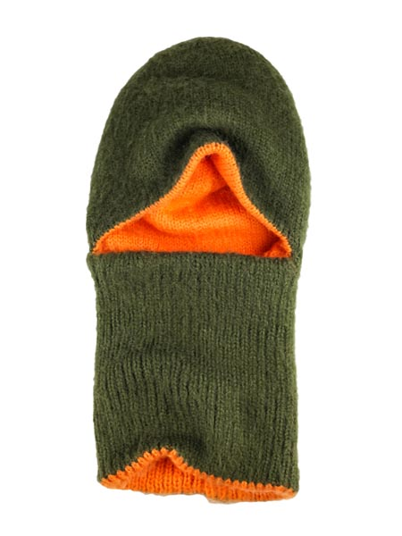 Arctic Hood Reversible, Olive/Orange, Alpaca Blend winter Balaclava for the whole family