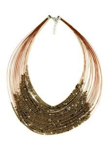 Gold Beaded Drape Necklace