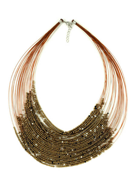 Gold Beaded Drape Necklace