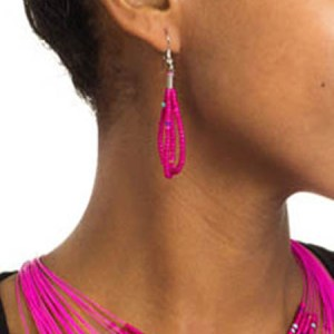 Pink Beaded Drape Earrings