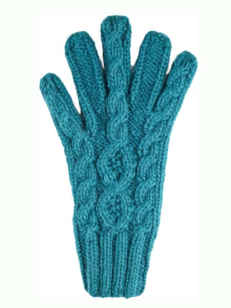 Cable Glove, classic style, Teal, Alpaca Blend, winter Mittens for the whole family