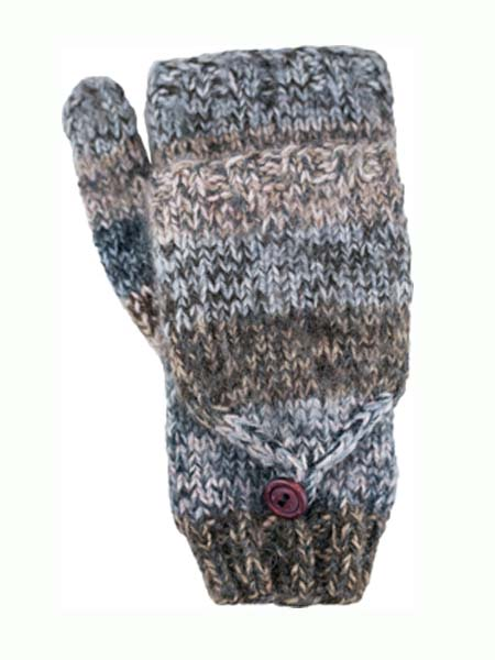 Funky Convertible Mitten, Grey. Alpaca Blend, winter Mittens for the whole family
