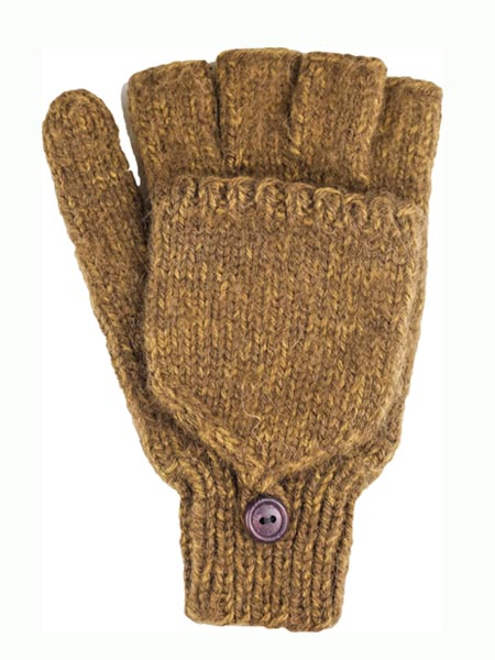 Glitten Convertible Mitten, Brown, Large size, Alpaca Blend, winter Mittens for the whole family