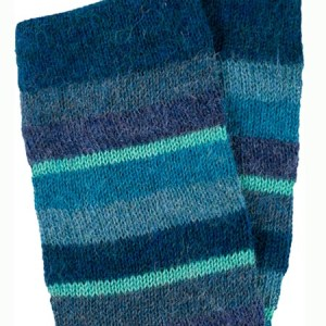 Multi Stripe Leg Warmer 100% Alpaca, Blue, Winter accessories for the whole family