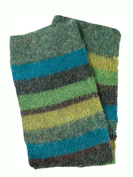 Multi Stripe Leg Warmer 100% Alpaca, Green, Winter accessories for the whole family