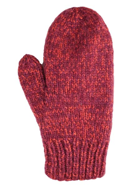 Blended Mittens, Burgundy, Alpaca Blend, winter Mittens for the whole family