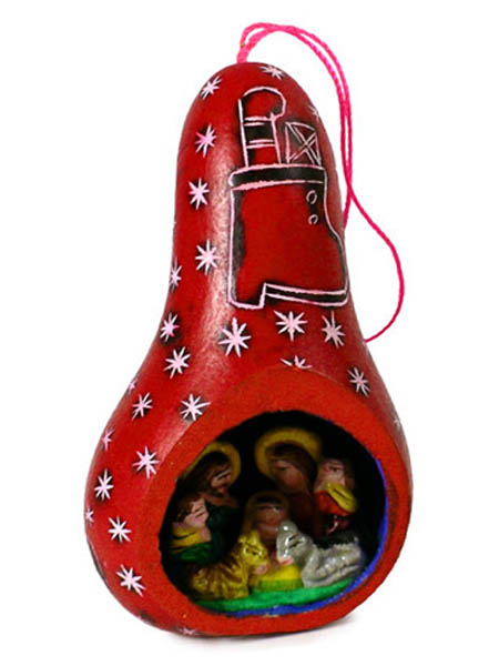 Red Gourd Nativity Ornament Carved with Scene Inside