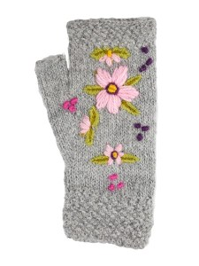 Embroidered Arm warmer Alpaca Blend, Grey, Fingerless, winter Scarves for the whole family