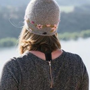 Embroidered Flower Hat 100% Alpaca, Grey, Winter Hats for the whole family