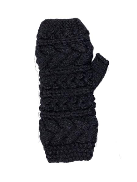 Cable Arm Warmer, Alpaca Blend. Fingerless Black winter wrist warmers for the whole family