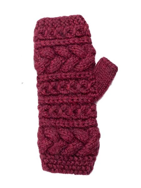 Cable Arm Warmer, Alpaca Blend. Fingerless Burgundy winter wrist warmers for the whole family