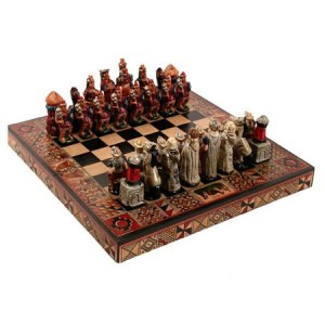 "Chess Set Peru, Incas Vs Spanish Conquerors , square 10"" x 10"", Hand paint"