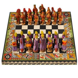 "Chess Set from Peru, Incas Vs Spanish Conquerors , square 10"" x 10"", Hand paint"
