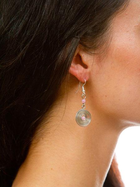 Pink Spiral Earrings