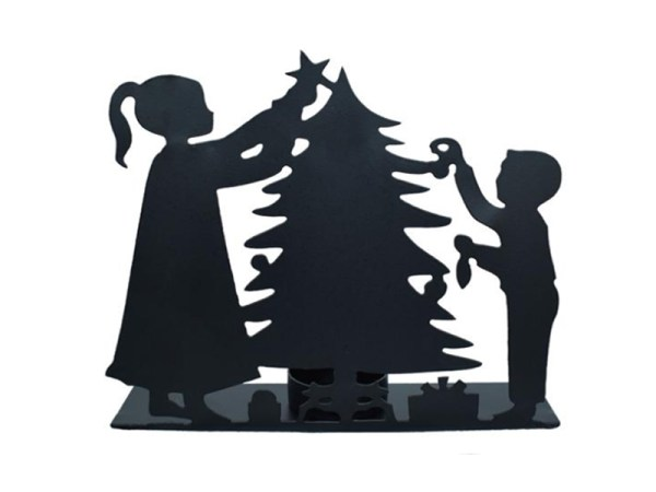 Candle Metal Kids and Tree Scene