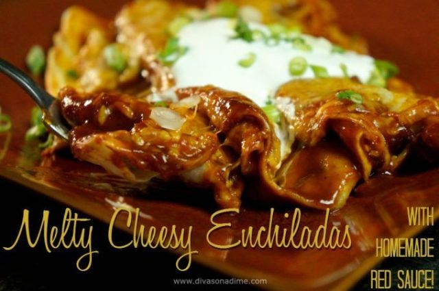 OMG! Melty-gooey Mexican style cheesy enchiladas smothered in a killer homemade red enchilada sauce. Muy delicioso! Makes a very generous dinner for four for under $1.50 per serving!