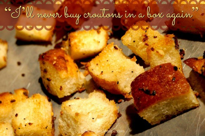 Make these croutons once and you'll be hooked. I had to make a second batch because I ate the first one! Fresh and flavorful, garlicky crisp on the outside, tender on the inside croutons. Compared to these, the store bought ones taste like packing peanuts. Really.