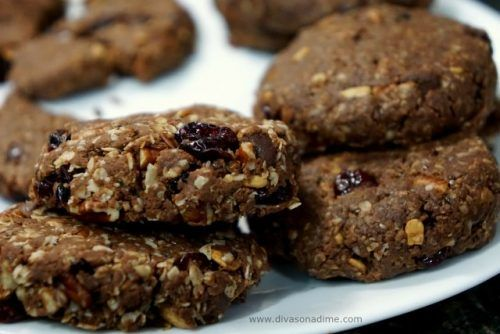 Easy protein packed breakfast cookies with healthy oatmeal, nuts and dried fruit.
