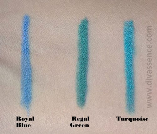 Lakme Eyeconic Royal Blue, Regal Green, Turquoise  Swatches