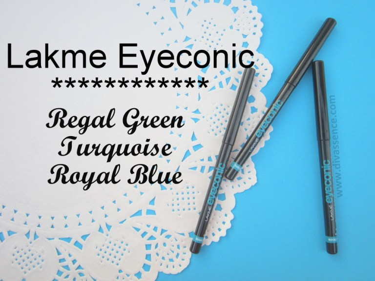Lakme Eyeconic Turquoise, Regal Green, Royal Blue  swatches, review,