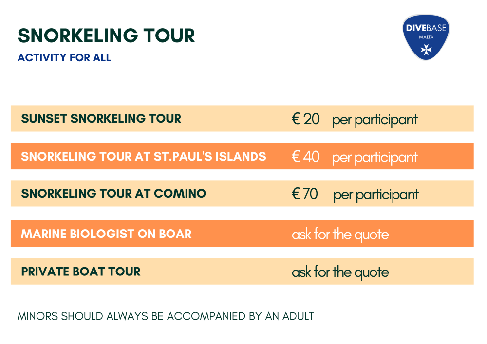 Snorkeling tour in Malta, Comino, Sunset Snorkeling tour, Private Boat tour