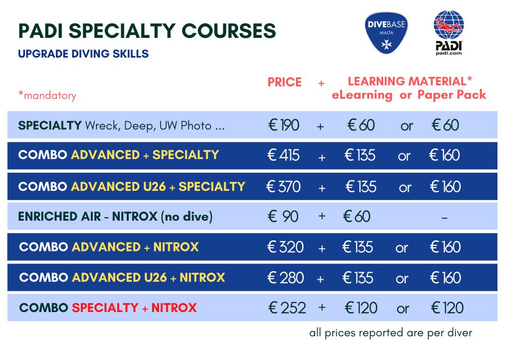 PADI Specialty Courses DiveBase Malta. Wreck diver, deep diver, Nitrox, photography diver. Promo and discounts