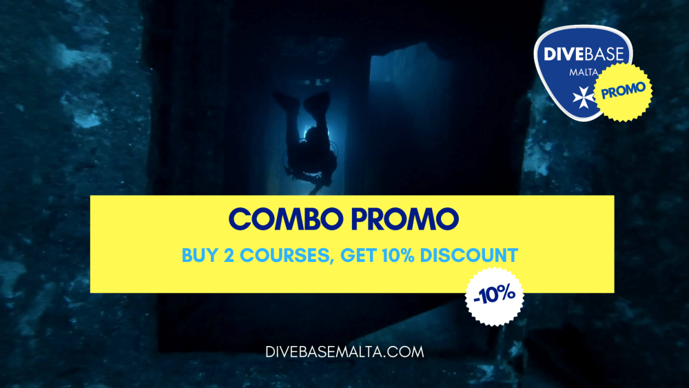 Buy 2 diving courses and get get extra -10% discount with DiveBase Malta