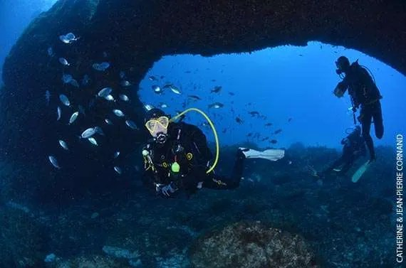 Favourite Dives on Gozo: Divers under Comino Caves arch