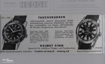 """Im selben Jahr gab's auch schon ein zweites, etwas teureres Modell, mit der Aufforderung, gleich einen """"Taucherprospekt"""" anzufordern."""