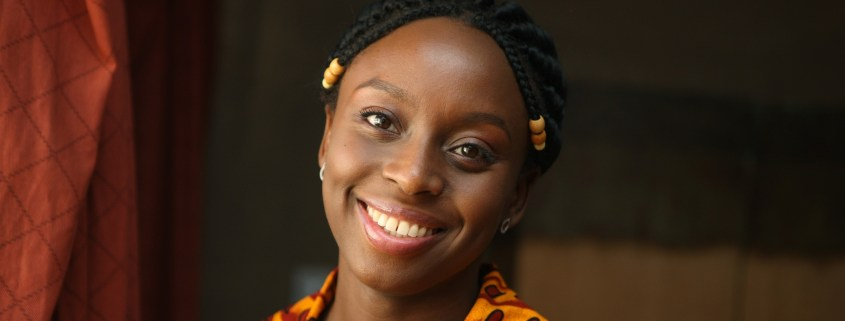 Nigerian writer Chimamanda Adichie gestures in Lagos,Nigeria, Tuesday, Sept. 16 2008.(AP Photo/George Osodi)