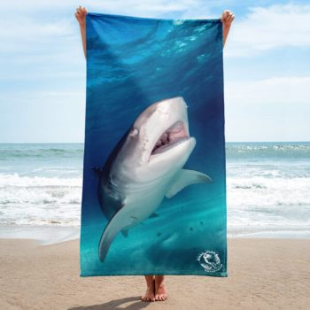 Diver Dena's Adventure Shop-Happy Shark LARGE Beach/Shower Towel