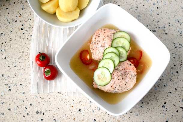 Poached Spicy Salmon Broth by Diverse Dinners
