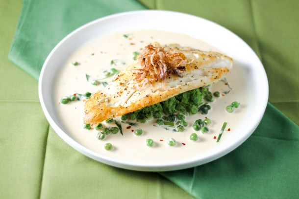 Haddock with Pea Puree and Cream Sauce by Diverse Dinners
