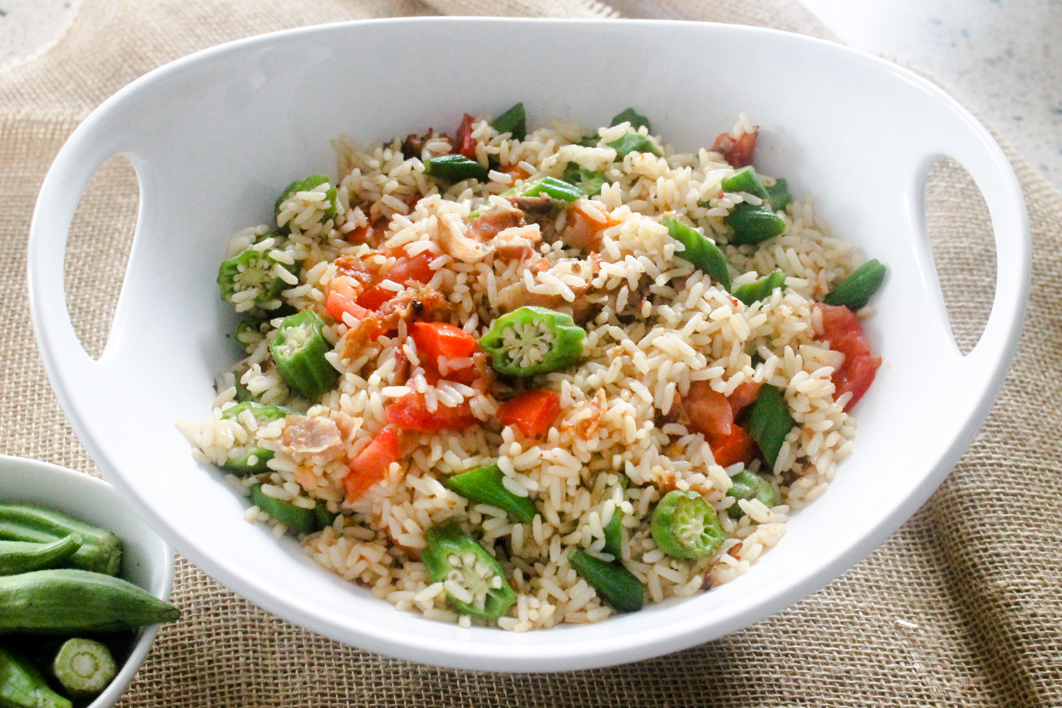 Okra fried rice diverse dinners okra fried rice has all the necessary food groups so you can serve it as a main course too ccuart Image collections