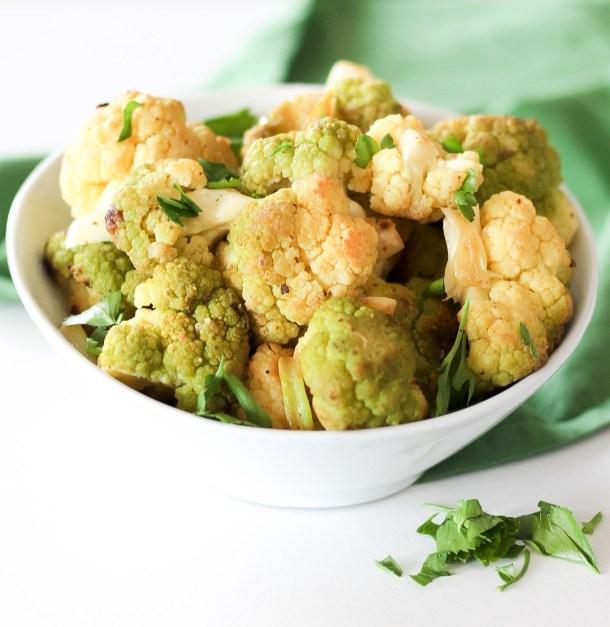 Lime Garlic Green Cauliflower by Diverse Dinners
